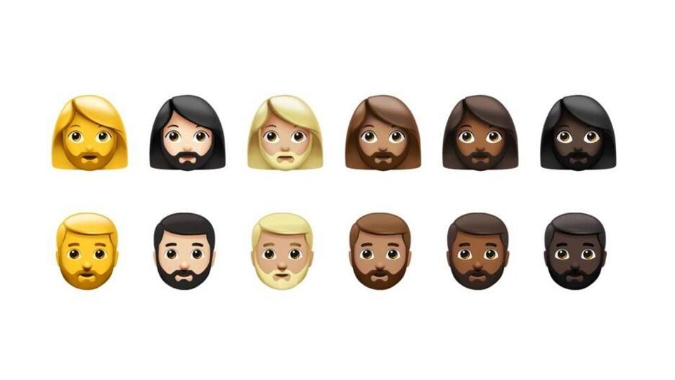 Une douzaine d'émojis avec différents genres et teintes de peau arborent la barbe.