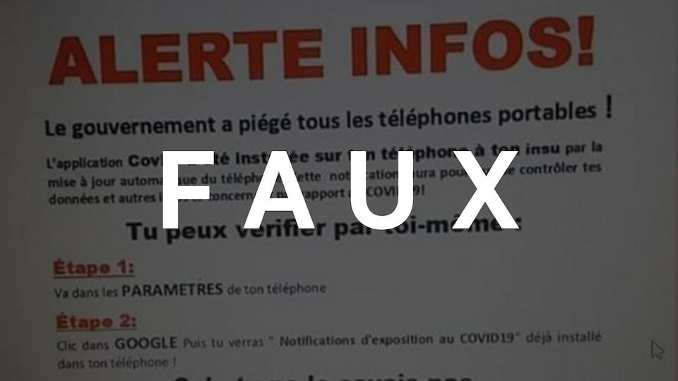 """Capture d'écran d'une publication titrée """"ALERTE INFOS"""". Le mot """"FAUX"""" est superposé sur l'image."""