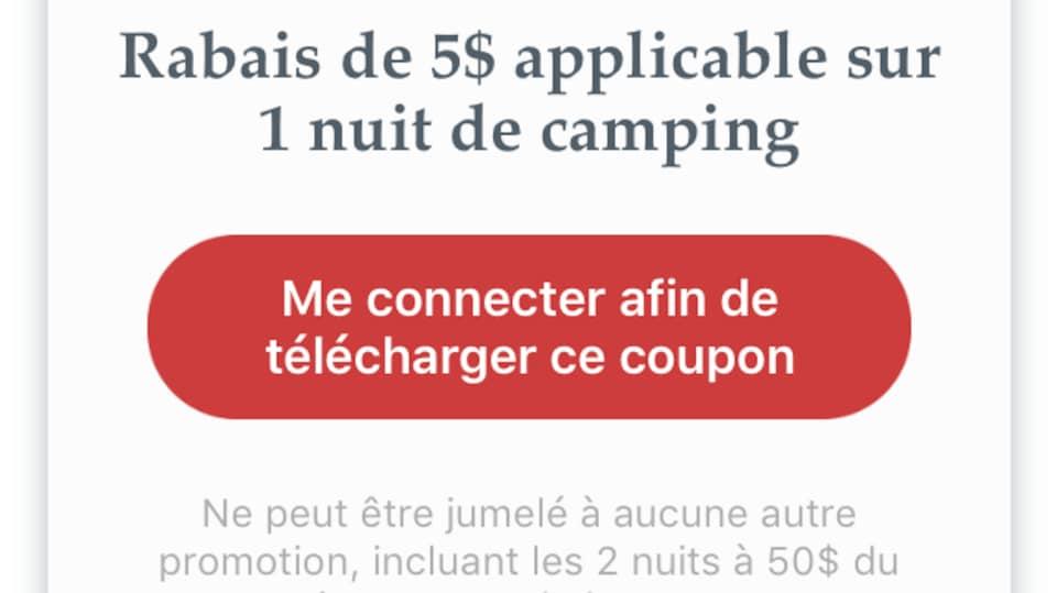 Capture d'écran du profil d'un camping sur l'appli