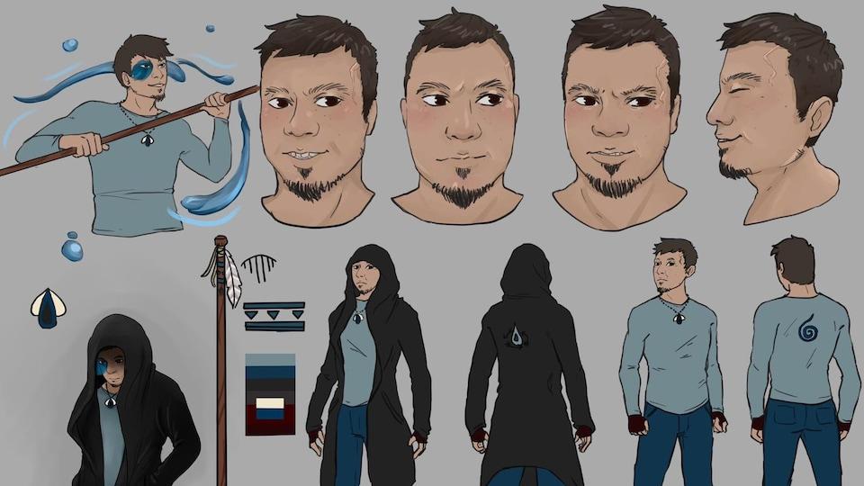 Une planche à dessin du personnage d'Aqueous et de ses accessoires.