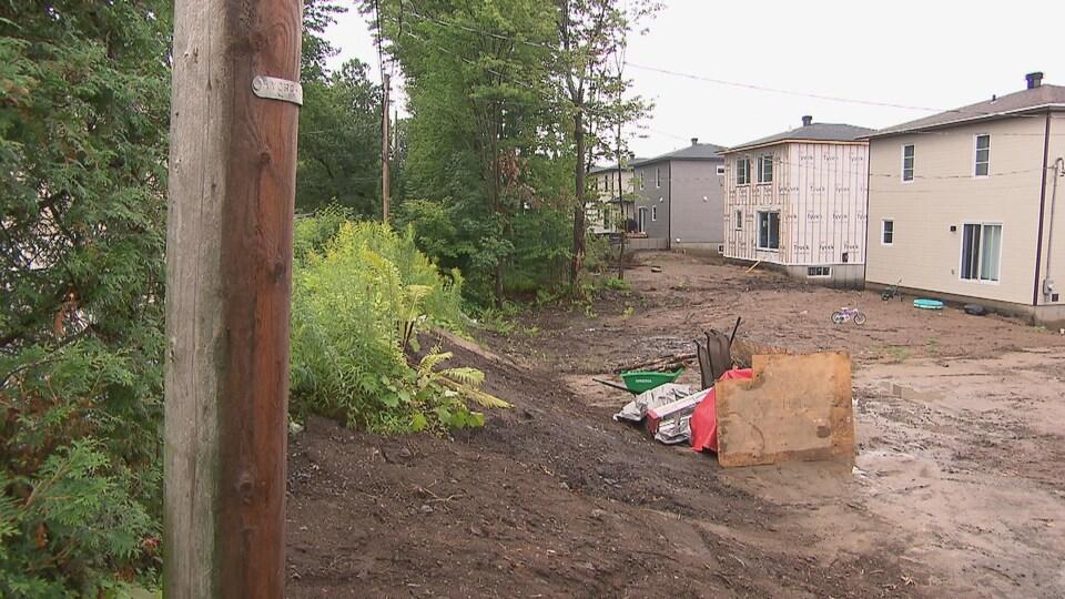 Alignement de maisons en constructions en bordure d'une région boisée.