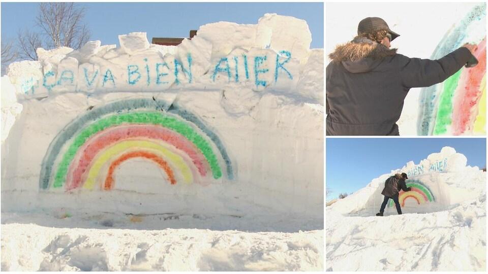 Un homme devant un arc-en-ciel peint sur la neige.