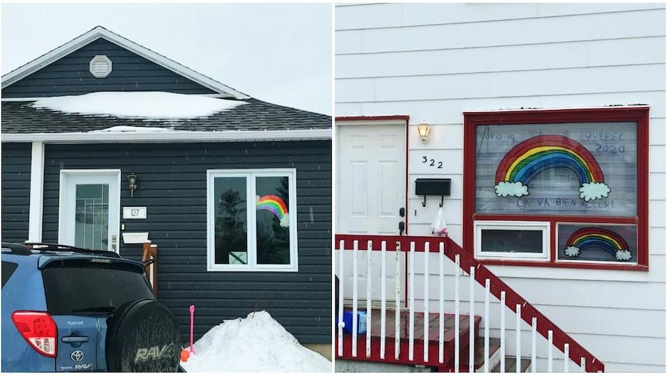 Collage de deux maisons décorées d'arcs-en-ciel.