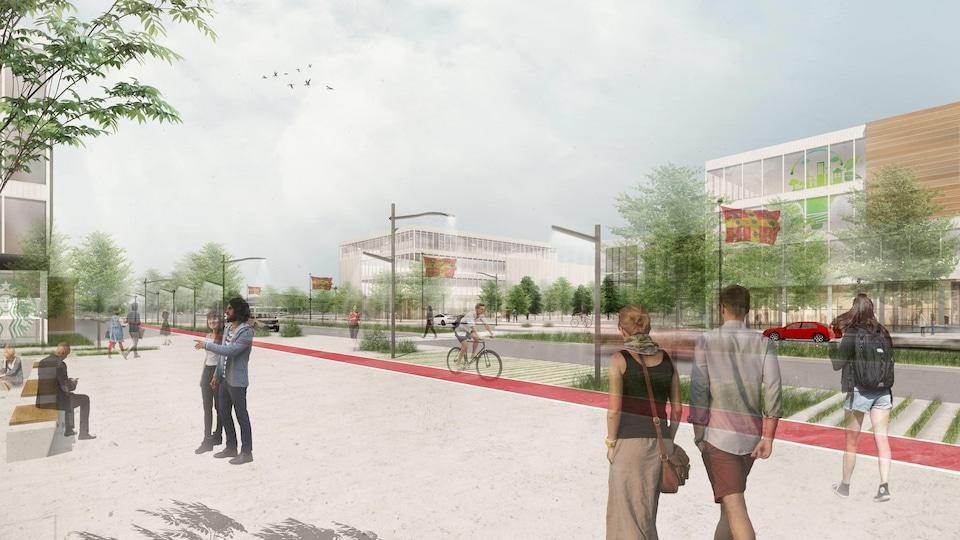 Le paysage du campus de l'Université Laval près de l'autoroute Robert-Bourrassa imaginé pas des étudiants en architecture.