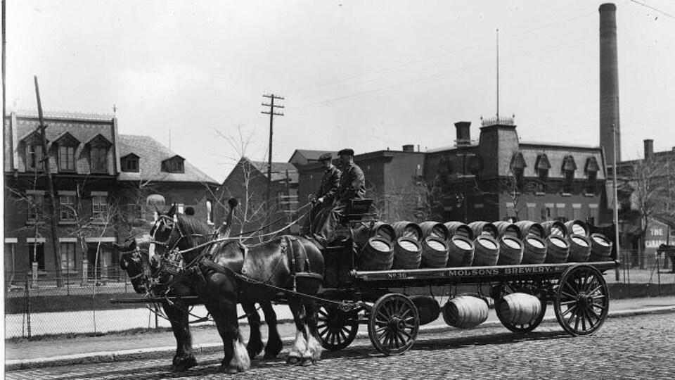 Chariot à bière de la Brasserie Molson, à Montréal, vers 1908