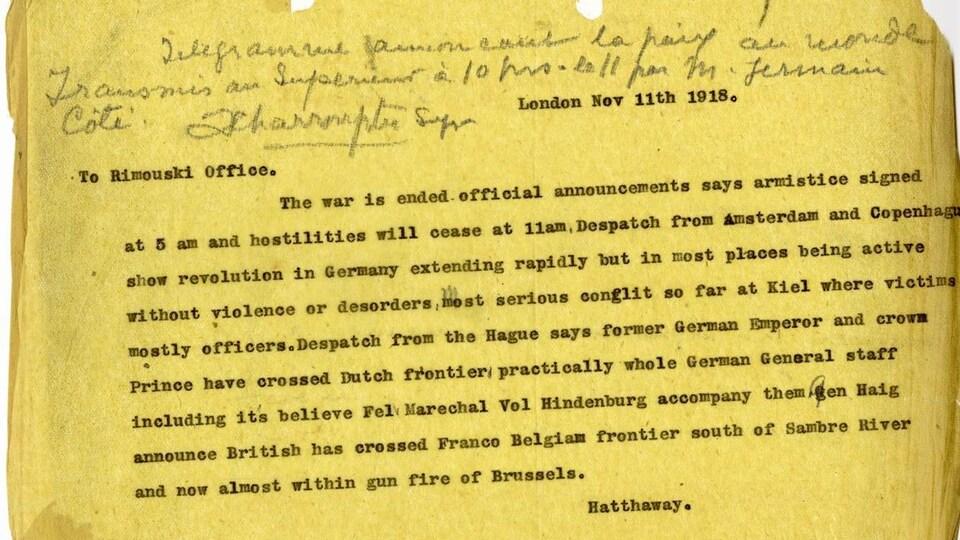 Télégramme du 11 novembre 1918 annonçant la fin de la Première Guerre mondiale.