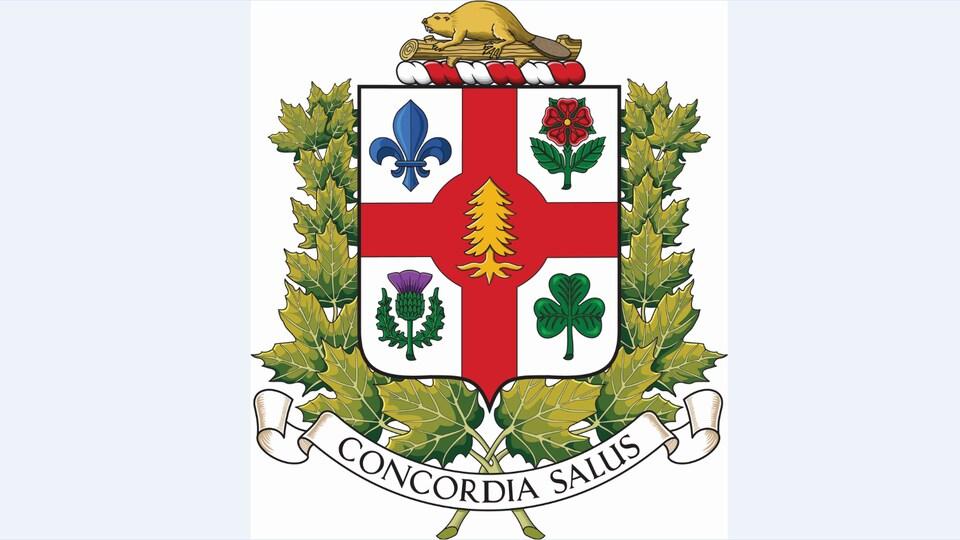 Les nouvelles armoiries de la Ville de Montréal arborant le pin blanc, soulignant la contribution des peuples autochtones dans la fondation de la ville.