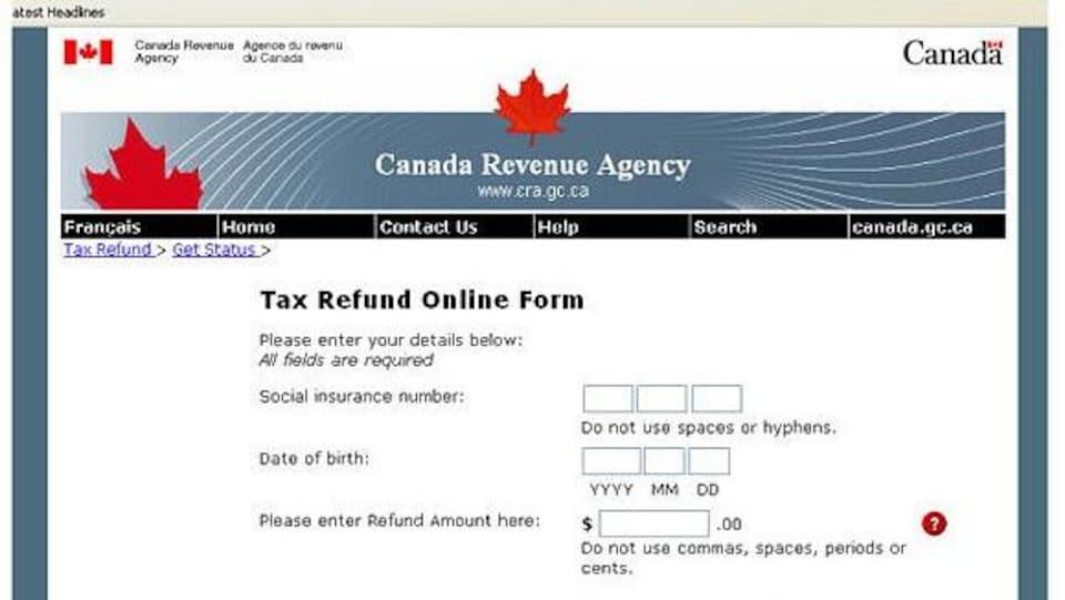 En dessous d'un bandeau classique de l'ARC, on peut lire le début d'un formulaire exigeant d'inscrire son numéro d'assurance social.