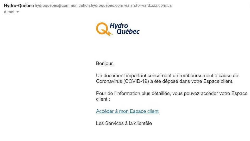 Un courriel avec le logo d'Hydro-Québec