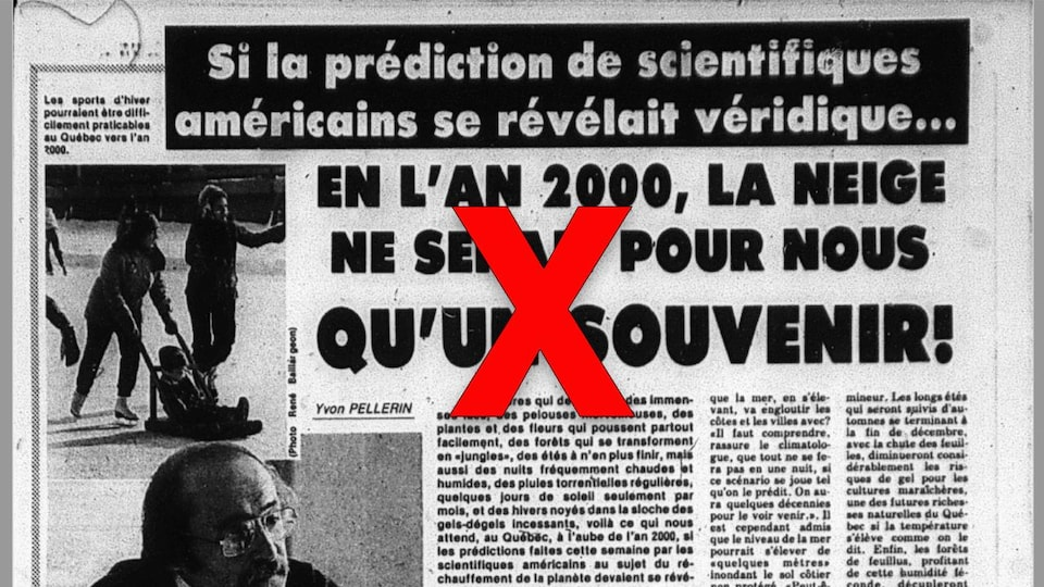 Nous voyons un article de journal intitulé «Si la prédiction des scientifiques américains se révélait véridique... en l'an 2000, la neige ne serait pour nous qu'un souvenir!»