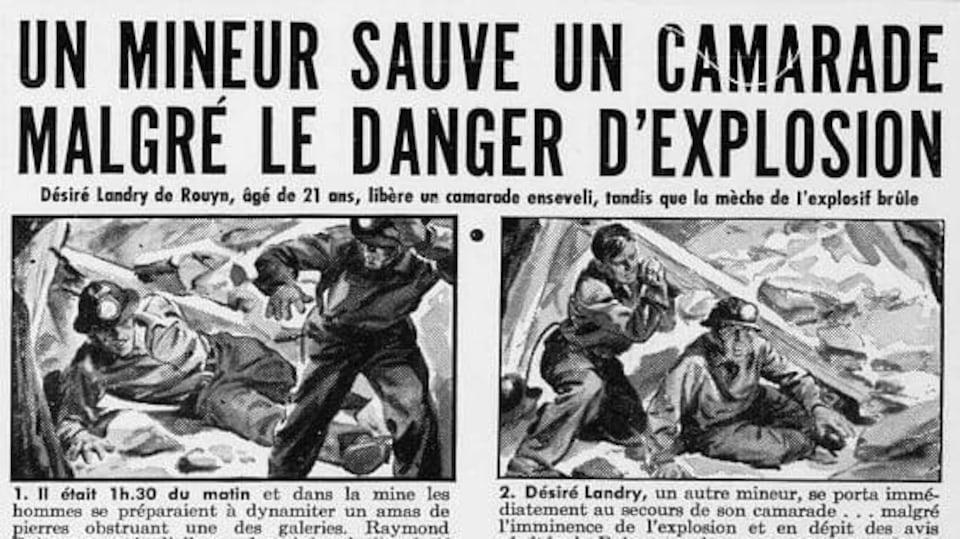 Une coupure de journal avec comme titre «Un mineur sauve un camarade malgré le danger d'explosion».