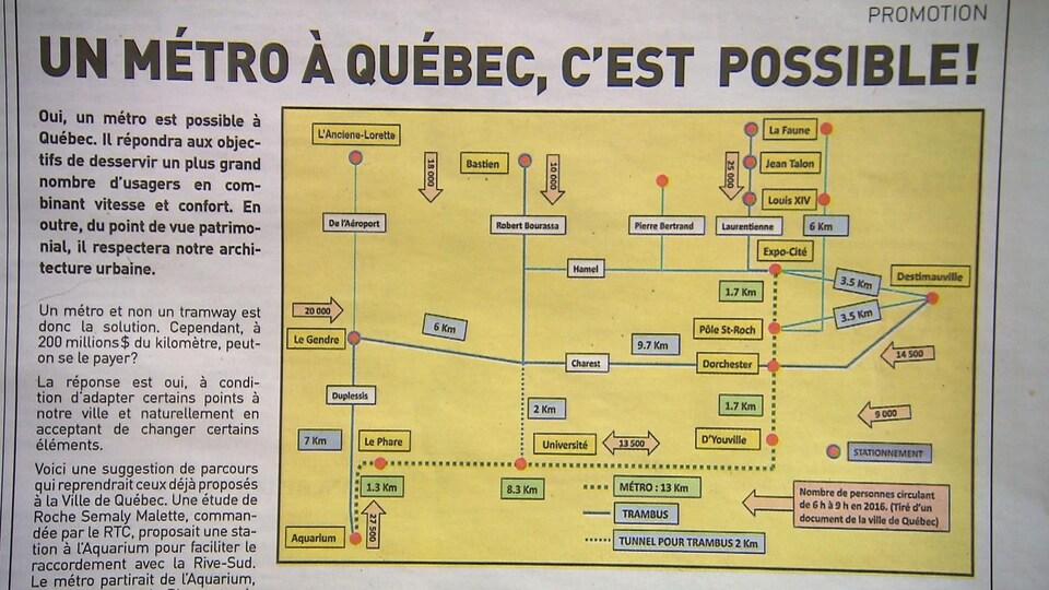 Photographie d'un article promotionnel intitulé «Un métro à Québec, c'est possible!». On aperçoit une partie du texte d'opinion ainsi qu'un plan du parcours suggéré par son auteur.