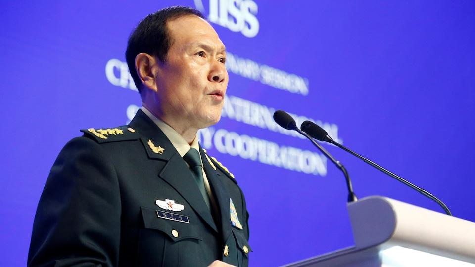 Le ministre chinois de la Défense, Wei Fenghe, lors de son allocution à Singapour
