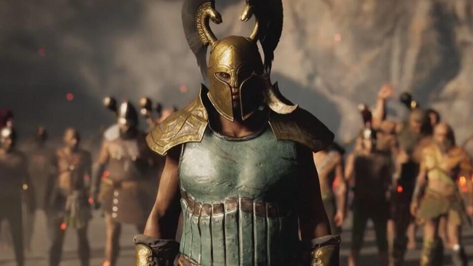 Image tirée d'un jeu vidéo montrant des guerriers alignés avec des combinaisons de métal.