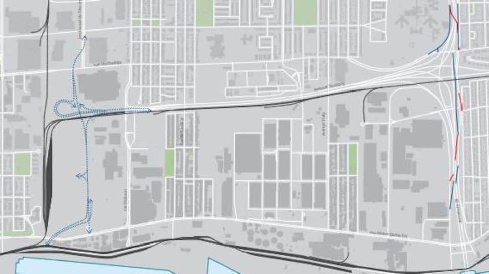 Carte du secteur Assomption-Sud-Longue-Pointe montrant l'emplacement du prolongement l'Assomption-Souligny.