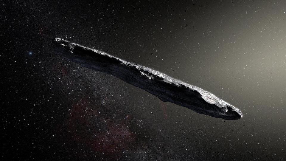 Représentation artistique de l'astéroïde Oumuamua.