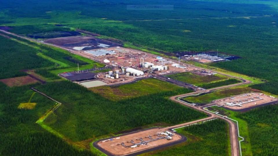 Vue aérienne du site à Hangingstone.
