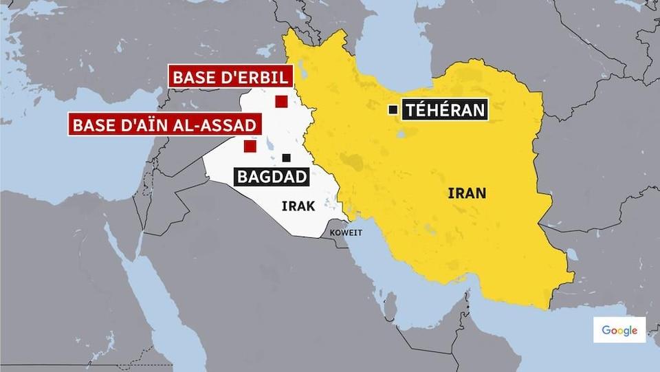 Carte montrant où sont situées les bases d'Aïn al-Assad et d'Erbil, en Irak.