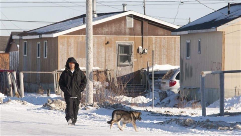 Une personne et un chien circulent sur une route enneigée