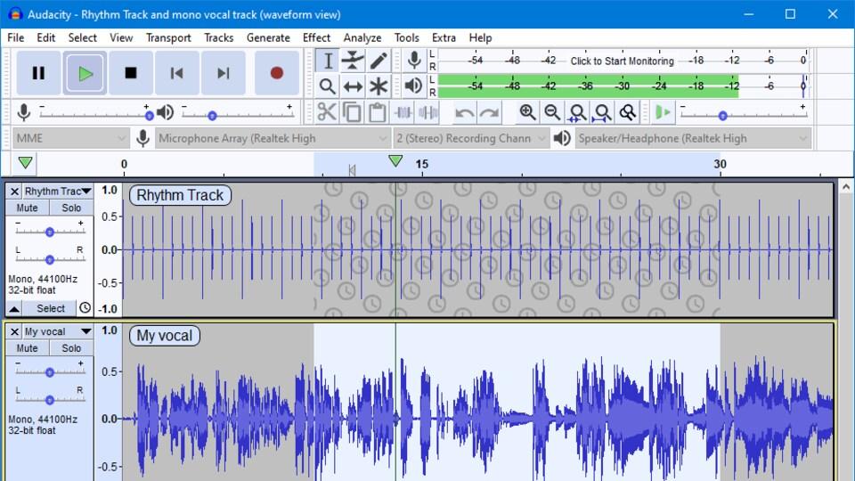Interface visuelle du logicielle, où on aperçoit notamment des formes d'ondes sonores et des boutons d'enregistrement et de lecture de pistes audio.