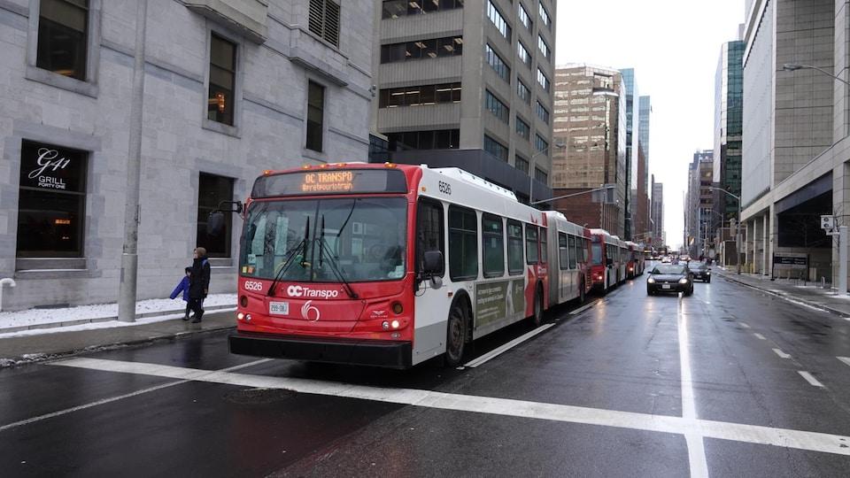 Des autobus d'OC Transpo attendent en fil sur une rue du centre-ville d'Ottawa.