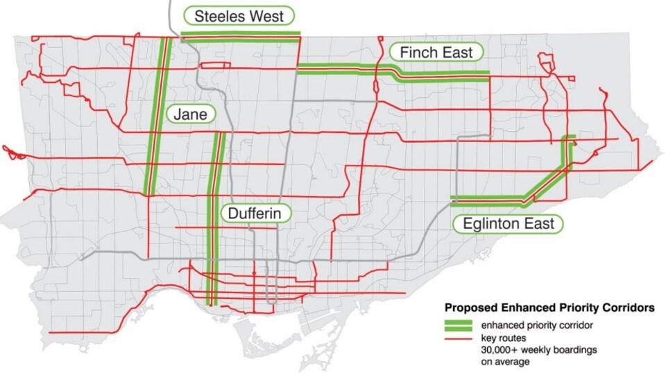 Carte des cinq voies réservées aux autobus.