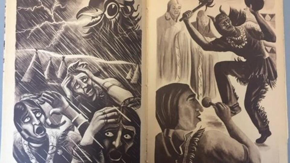 Des dessins d'Autochtones dans un manuel scolaire de 1951.
