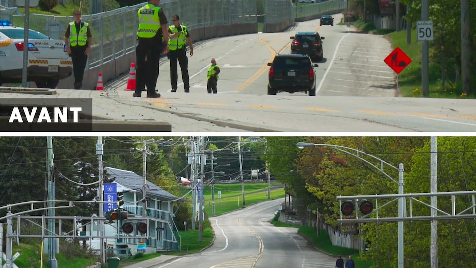 Avant-après montrant la clôture du périmètre de sécurité le long de la route 362 à La Malbaie, ainsi que la route maintenant que les barrières ont été retiré.