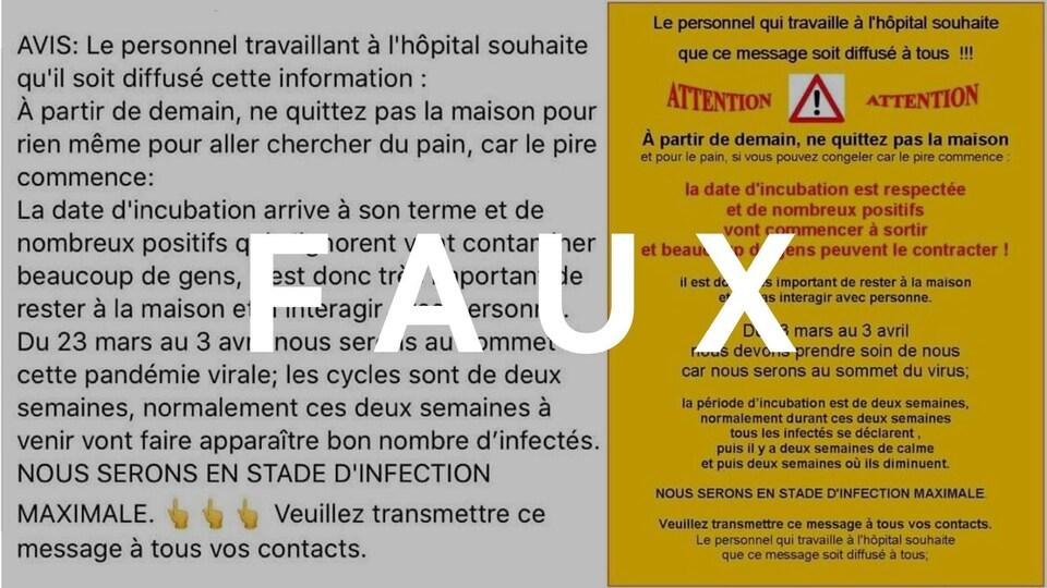 Deux versions d'une publication Facebook avec un avertissement. Le mot FAUX est écrit en majuscules sur l'image.