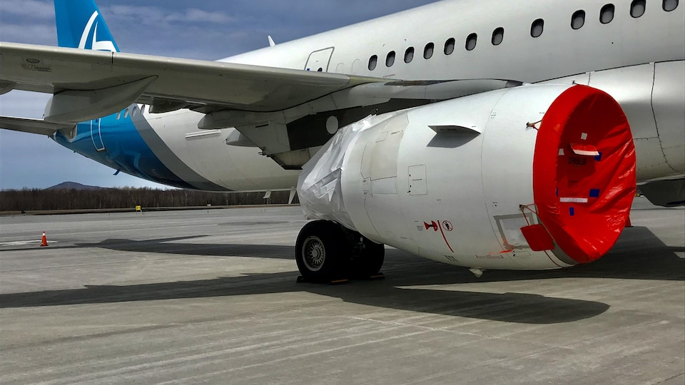 Des bâches ont été installées pour protéger les moteurs des avions. De temps en temps, des tests d'entretien sont faits pour faire tourner les moteurs en attendant le retour dans le ciel.