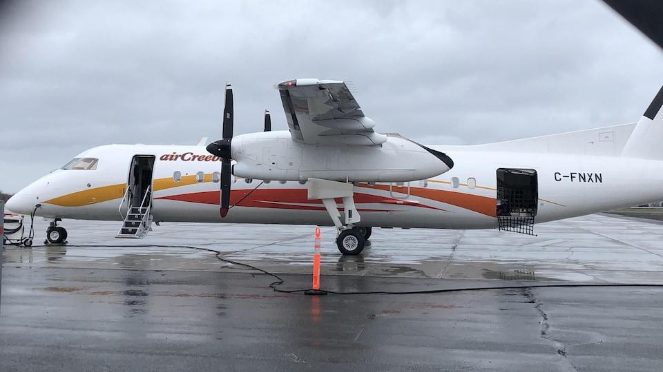 Un avion se trouve sur une piste d'atterrissage d'un aéroport. Un cône orange se situe à côté de l'appareil.