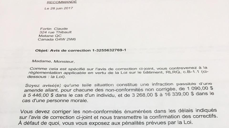 Avis de correction reçu par M.Fortin en juin dernier