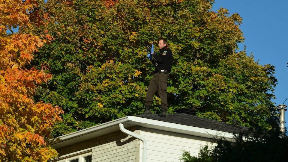 Un agent de la faune sur un toit.