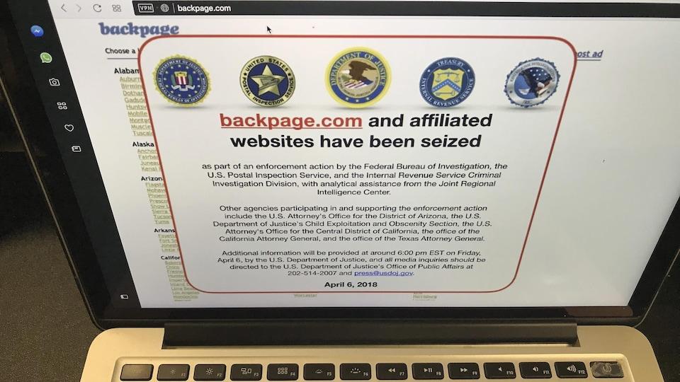 Depuis vendredi, les tentatives de connexion au site Backpage.com mènent à un communiqué de la police fédérale américaine et de plusieurs autres agences gouvernementales.