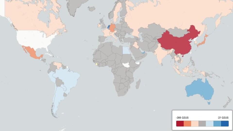 Carte des déficits et surplus commerciaux par pays.