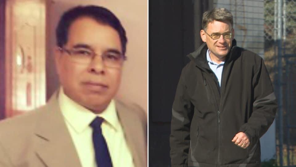 Collage de deux photos : à gauche, une photo un peu jaunie du candidat Sharma, et à droite, Brian Mayes, marchant dans la rue.