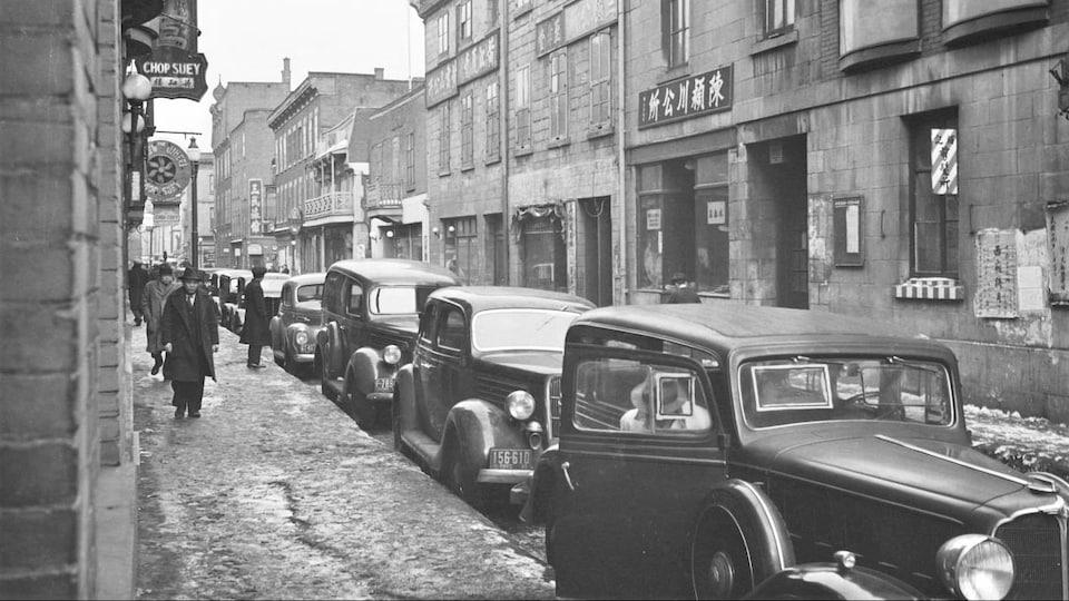 Le quartier chinois en février 1940, photographie de Conrad Poirier. Collection BanQ.