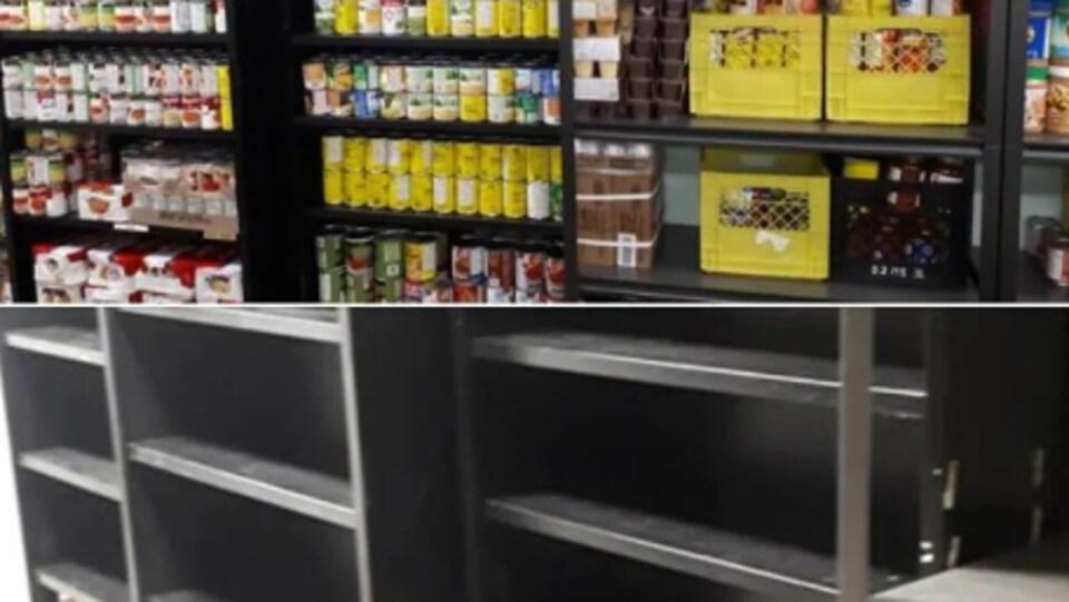 En haut, des étagères pleines de denrées non périssables. En bas, ces mêmes étagères presque vides.