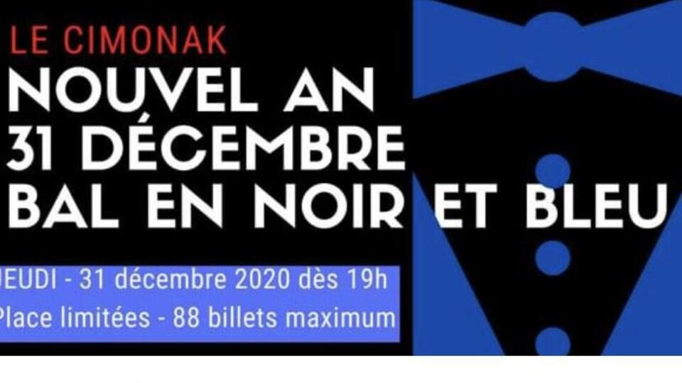 L'invitation indique un bal en noir et bleu le 31 décembre. 88 billets sont en vente.