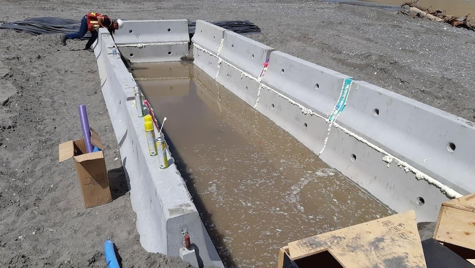 Un homme est penché au-dessus d'un bassin bordé de blocs de béton.