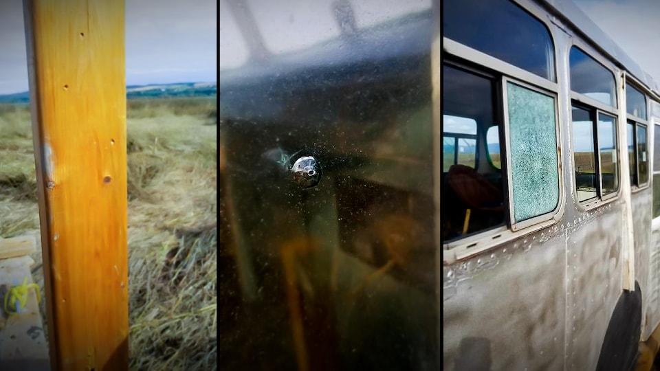 Trois images montrent les impacts de projectiles sur un poteau de bois et deux fenêtres