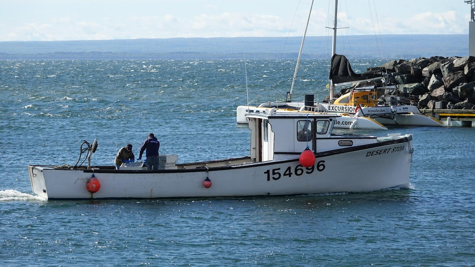Un bateau avec deux pêcheurs à bord rentre à quai.