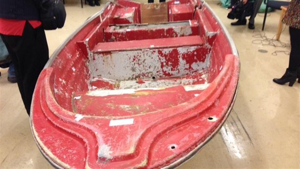 Le bateau de Phillip Boudreau présenté comme preuve lors du procès de James Joseph Landry.