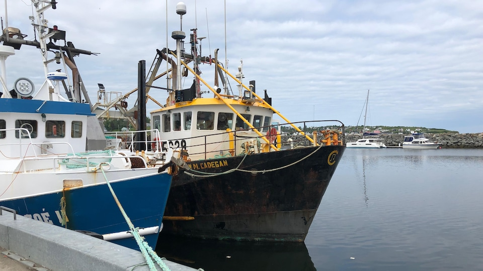Two fishing boats moored at the Rivière-au-Renard wharf.