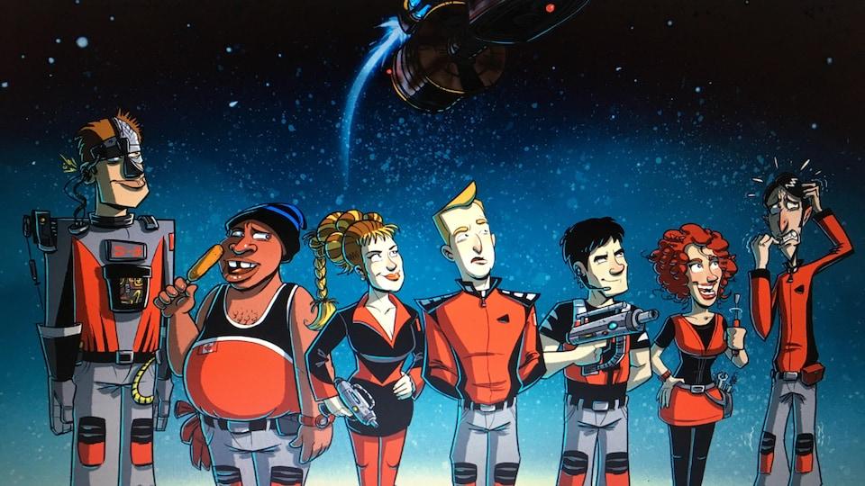 Photo tirée de la bande-dessinée de Julien Paré-Sorel, illustrant les membres de l'équipage de Dans une galaxie près de chez vous.