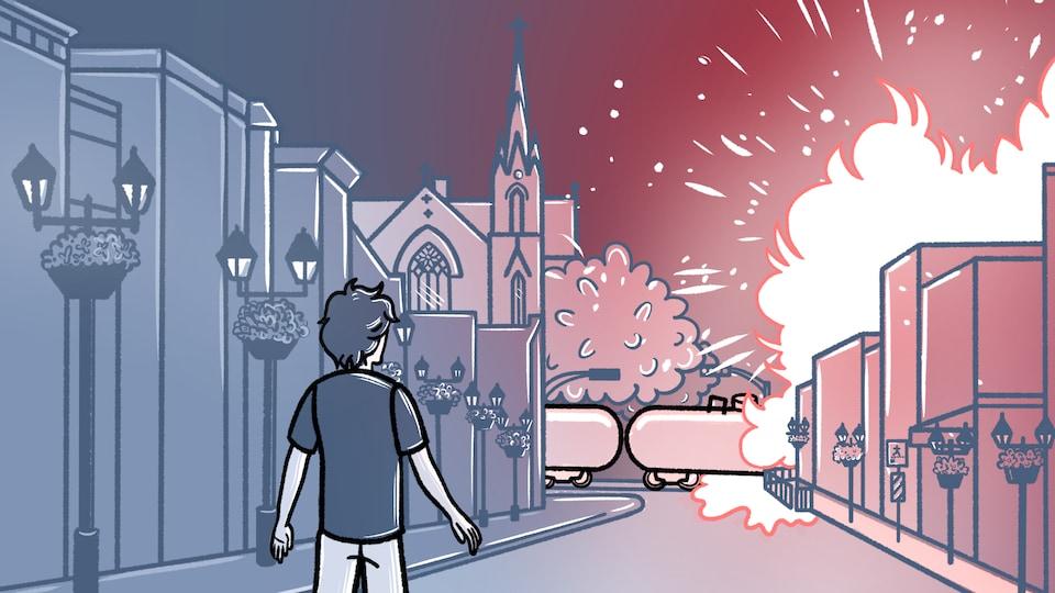 Un dessin de la bande dessinée lorsque le train explose au centre-ville.