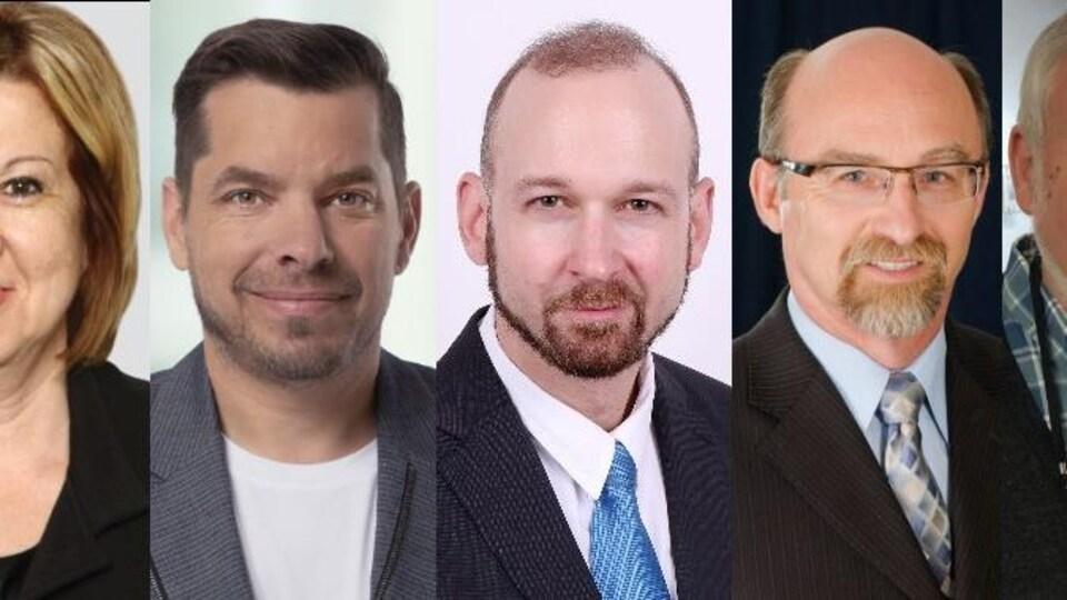 Photo des cinq candidats dans la circonscription Gaspésie-Les Îles-de-la-Madeleine.