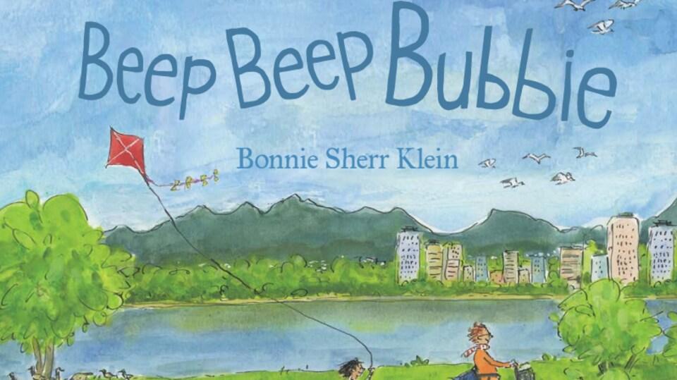 Illustration du livre Beep Beep Buddie, des enfants suivent une femme en fauteuil électrique, dans Vancouver.