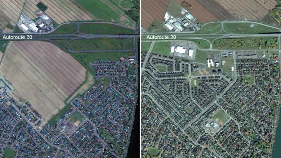 Vue satellite de la pointe nord de la ville de Beloeil en 2005 (à gauche) et en 2017 (à droite)
