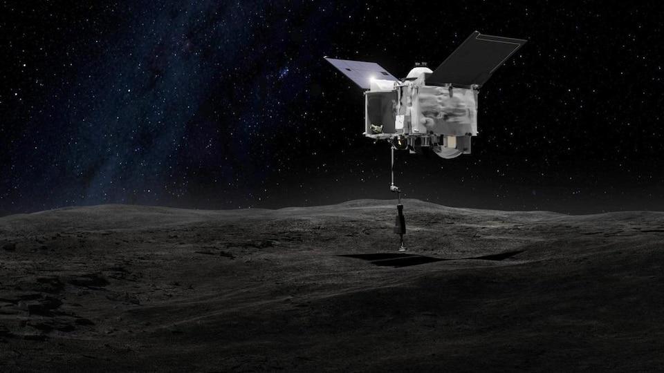 Représentation artistique de la sonde Osiris-Rex recueillant des échantillons à la surface de l'astéroïde Bennu.